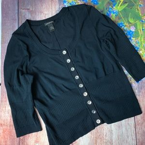 Lane Bryant Black Fitted Buttoned Sweater 22/24